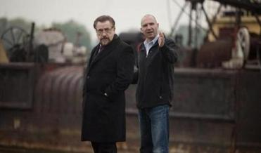 "THIS HANDOUT FILE HAS RESTRICTIONS!!! BRIAN COX, left, and director RALPH FIENNES of the 2011 film ""CORIOLANUS,"" directed by Ralph Fiennes. NYTCREDIT: Larry D. Horricks/Weinstein Company 15fiennes"